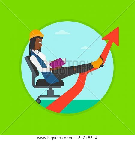 An african-american young business woman reading a book while his legs lay on an uprising arrow. Business study concept. Vector flat design illustration in the circle isolated on background.