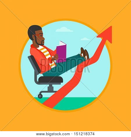 An african-american young businessman reading a book while his legs lay on an uprising arrow. Business study concept. Vector flat design illustration in the circle isolated on background.
