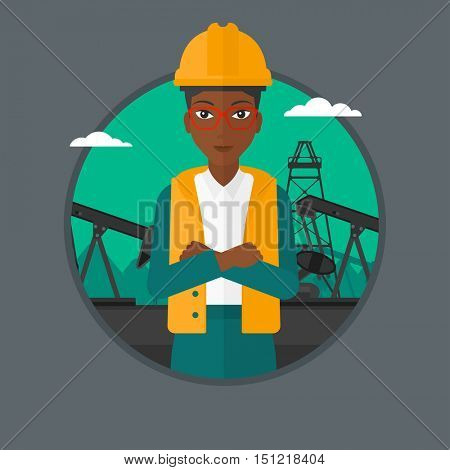 African-american oil worker in uniform and hard hat. An oil worker with crossed arms. Woman standing on a background of pump jack. Vector flat design illustration in the circle isolated on background.
