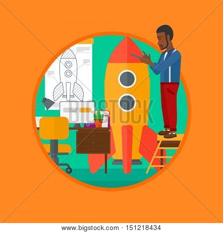 An african man standing on ladder and engeneering a rocket. Man working on the startup of new business. Business start up concept. Vector flat design illustration in the circle isolated on background.