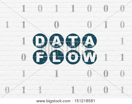 Data concept: Painted blue text Data Flow on White Brick wall background with Binary Code