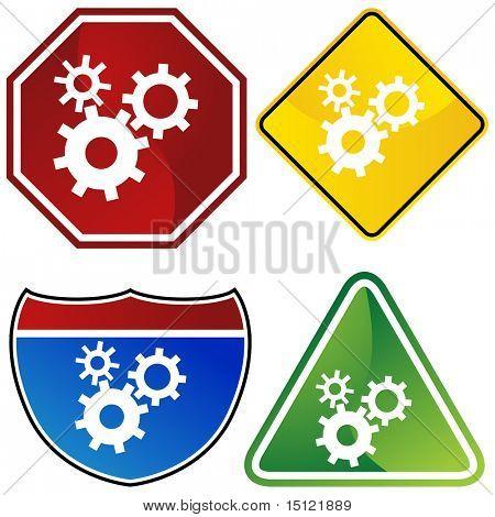Machine wheel icon isolated on a white background.