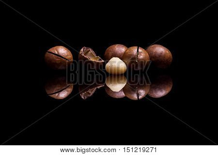 Four macadamia nuts isolated on black reflective background
