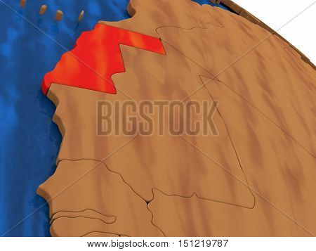 Western Sahara On Wooden Globe
