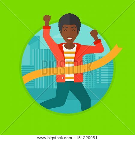 An african-american happy businessman running at the finish line. Businessman crossing finish line. Concept of business success. Vector flat design illustration in the circle isolated on background.
