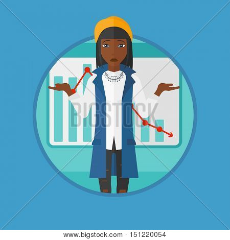 African-american stressed business woman with spread arms standing on a background of decreasing chart. Business bankruptcy concept.Vector flat design illustration in the circle isolated on background