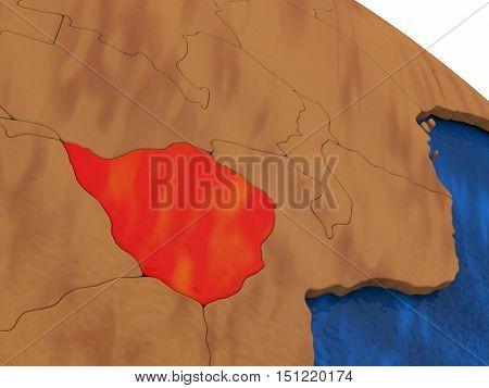 Zimbabwe On Wooden Globe
