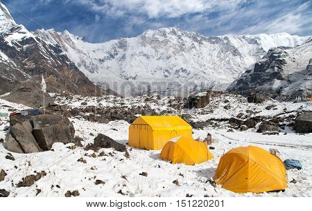 View of Mount Annapurna with tents from base camp Nepal
