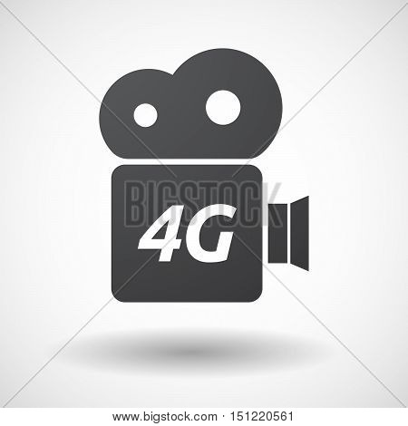 Isolated Film Camera Icon With    The Text 4G