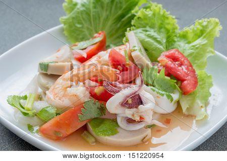 Mixed seafood salad thai food.sour taste Top Savory Snacks