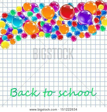 Banner with colored balloons, squared paper, letters. Eps 10 vector file