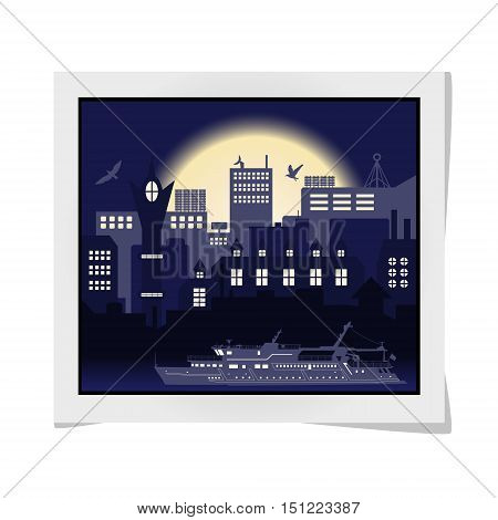 Photo Frame With Industrial European Vintage Styled City, Travel Boat And Seagulls On Bright Blue Su
