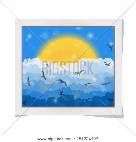 Cartoon photo frame with flying birds in clouds on sun and blue shining sky background. Vector illustration