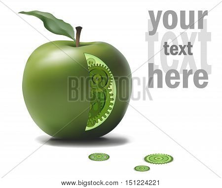 Business Eco Gear Idea Mechanism in Green Apple. Natural Solution Concept Vector