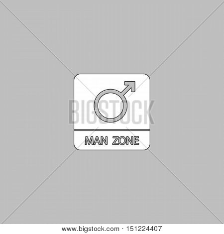man gender Simple line vector button. Thin line illustration icon. White outline symbol on grey background