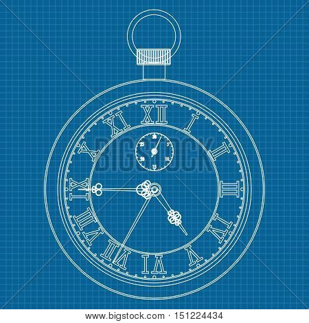 Pocket watch. Stop watch. Web icon. Vector illustration on blueprint background