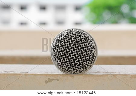 Microphone dynamic Close up Select focus with shallow depth of field