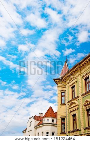 a detail of villa with blue sky