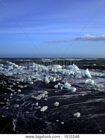 Icebergs And Rough Sea