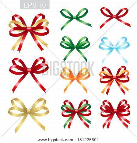 Set of ribbon tied bows in vector format for gift card greeting card or thank you card and other decoration