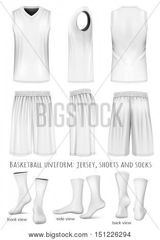 Basketball uniform: sleeveless top, shorts and socks. Front, back and side views. Vector illustration. Fully editable handmade mesh.