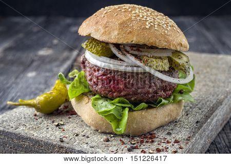 Barbecue Hamburger with Salad Leaf