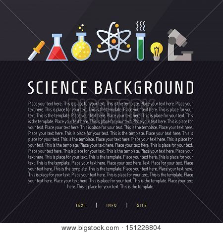Science vector background with place for your text. Chemistry Physics and Biology. Modern flat design.
