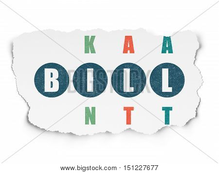 Money concept: Painted blue word Bill in solving Crossword Puzzle on Torn Paper background