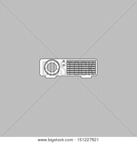 Projector Simple line vector button. Thin line illustration icon. White outline symbol on grey background
