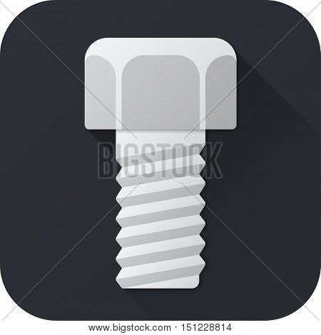 Vector illustration. Toy bolt in flat design with long shadow. Square shape icon in simple design. Icon vector size 1024 corner radius 180