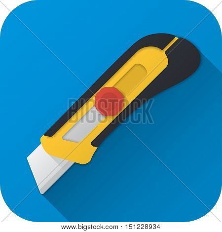 Vector illustration. Toy construction utility knife in flat design with long shadow. Square shape icon in simple design. Icon vector size 1024 corner radius 180