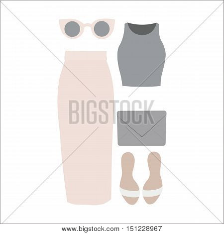 Set Of Vector Clothes For Women.