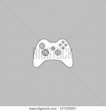 Gamepad Simple line vector button. Thin line illustration icon. White outline symbol on grey background