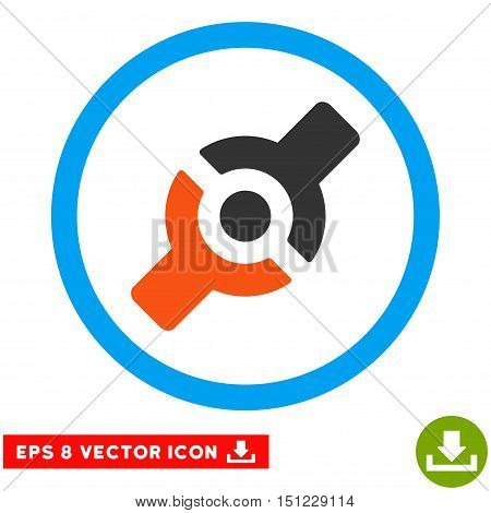 Rounded Artificial Joint EPS vector icon. Illustration style is flat icon symbol inside a blue circle.
