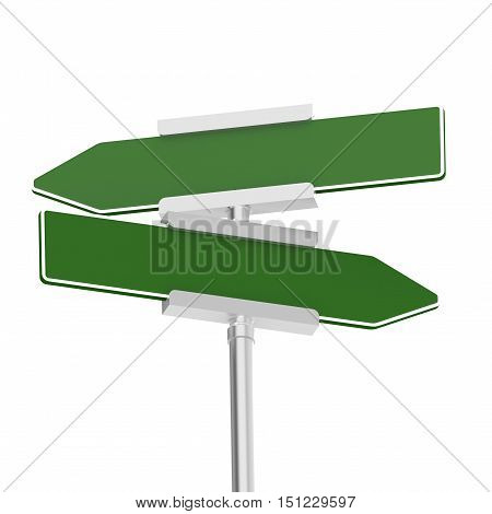 Green signboard with metal pole isolated ,3D rendering