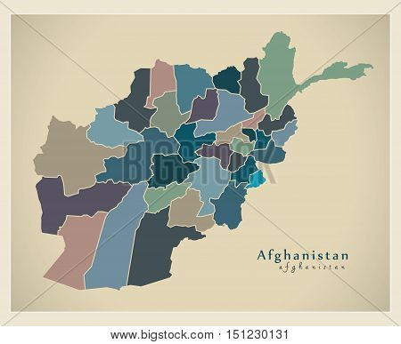Modern Map Afghanistan with provinces coloured AF vector high res