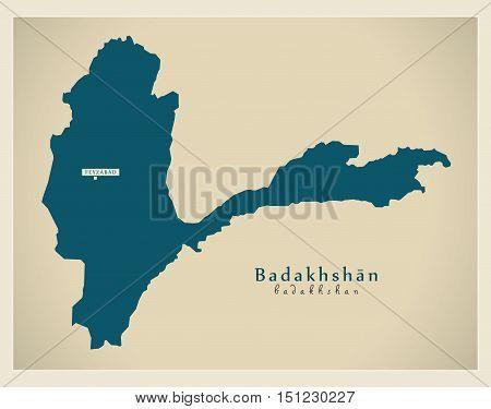 Modern Map Badakhshan Afghanistan AF vector high res