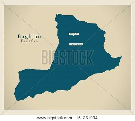 Modern Map Baghlan Afghanistan AF vector high res