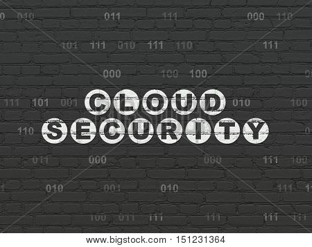 Security concept: Painted white text Cloud Security on Black Brick wall background with Binary Code