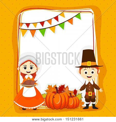 Cute pilgrim children enjoying and celebrating Thanksgiving Day, Greeting Card with space for wishes, Creative background with pumpkins, maple leaves and buntings decoration.