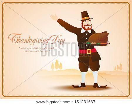 Pilgrim man holding roasted chicken on shiny background for Happy Thanksgiving Day celebration.