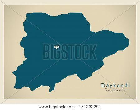 Modern Map Daykondi Afghanistan AF vector high res