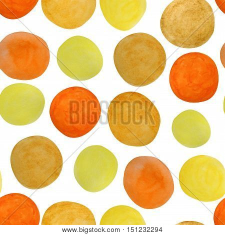 Seamless spotty pattern of watercolor stains in shades of orange, yellow & ochre brown. Retro dotty ornament of hand painted oval shapes in mid-century modern style.