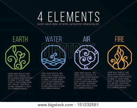 Nature 4 elements in Octagon line border abstract icon sign. Water Fire Earth Air. on dark background.