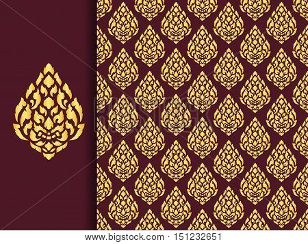 Asian traditional art Design Thai traditional background Giant Lai Thai patternvector