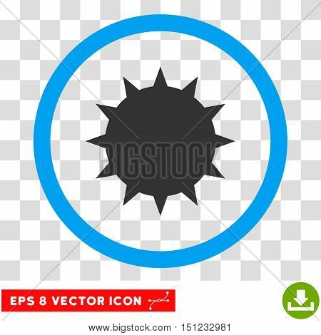Rounded Bacterium EPS vector pictograph. Illustration style is flat icon symbol inside a blue circle.
