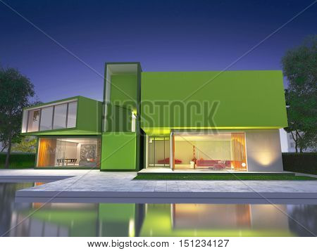 Realistic 3D rendering of a very modern upscale green house