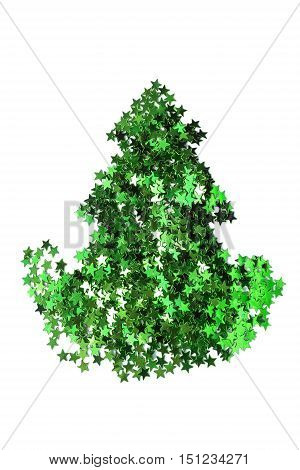 Green glitter christmas tree silhouette isolated over white
