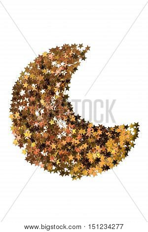 Golden sparkles in the shape of crescent isolated over white