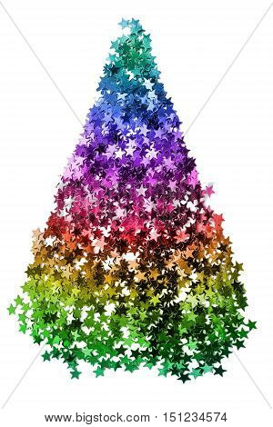 Pile of purple star shaped confetti on white background